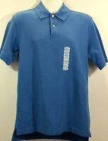 John Ashford Men Short Sleeve Button Front Cotton Knit Polo Shirt sz Small Blue