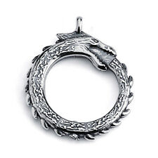 Ouroboros Dragon Eating Its Own Tail Pendant #925 Sterling Silver #Azaggi P0071S