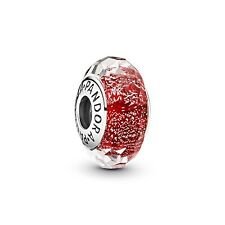 💎 New PANDORA Charm - Red Shimmer Glass Murano & Pouch S925 ALE 791654