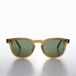 James Dean Style Horn Rim Sunglasses Amber / Polarized Green Lens - Benson