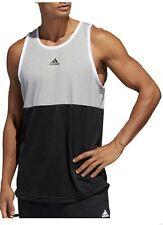 Adidas Men's 3-Stripe Life International Tank Top, Medium Grey Heather/Black