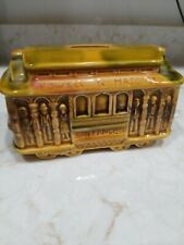 Vintage trolley car piggy bank ceramic  Made in Japan  Powell Madison Hyde