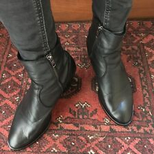 Black Leather Western Cowboy Ankle Boots Angie OFFICE 5.5/6