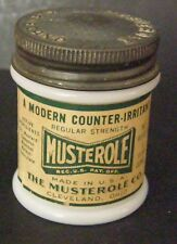VINTAGE MUSTEROLE OINTMENT MILK GLASS SMALL LIDDED MILK GLASS PAPER LABEL NICE
