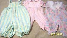 Infant girl set of 3 VTG pram out fits snap crotchs pink blue floral plaid  lace