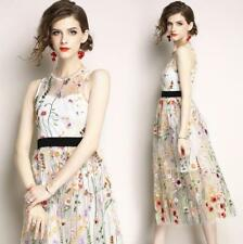 Womens Mesh Embroidery Mixed Color Slim Sleeveless Midi Ball Gown Dress Fashion