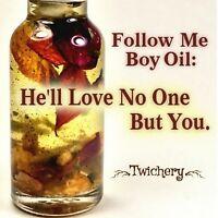 FOLLOW ME BOY OIL, Wicca, Pagan, Hoodoo Conjure, Faithfulness, Love and Loyalty