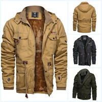 Men's Hooded Tactical Military Outdoor Bomber Jacket Fleece Lined Thick Outwear