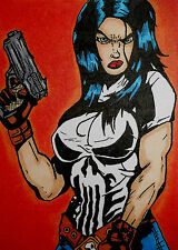 LADY PUNISHER - ROBERT POPE LIM. ED. PRINT/SKETCH ACEO CARD #'d 1 OF 5 (SIGNED)
