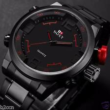 Luxury Men's Black Stainless Steel Sport Watch Waterproof Analog Quartz Watches