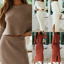 Women's Knitted Suit Solid Long Sleeve Sweater and Skirt Two Piece Set Outfits H