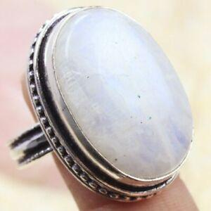 Rainbow Moonstone 925 Silver Plated Handmade Gemstone Ring US Size 9 Ethnic Gift