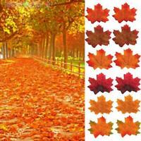 50X Herbst Ahornblatt Fälschungs Silk Getrocknete Blätter Hochzeit Weihnach A2J2