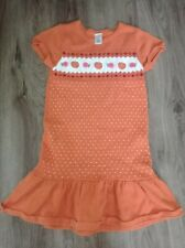 Gymboree Girls Pumpkin Sweater Dress Size 7 Orange polka dot