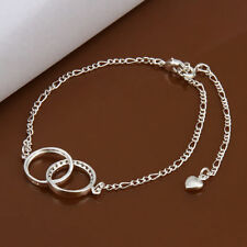 Anklet Adjustable Free Gift Bag Sterling Silver 925 Double Ring Crystal