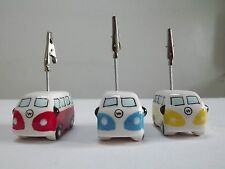 Set of 3  Campervan Photo/Memo Clips, Blue/yellow/Red