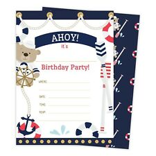 Birthday child nautical greeting cards invitations ebay nautical happy birthday invitations invite 25ct w envelopes seal party filmwisefo