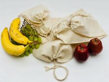 Reusable Cotton Muslin Bag. 100% Organic Cotton Produce Storage Muslin Bags