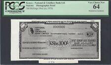 Kenya - National & Grindlays Nairobi 100 Shillings (ca.1970) Photographic Proof
