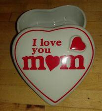 "EUC Heart shape ceramic trinket box with lid, white/red "" I love you Mom"""