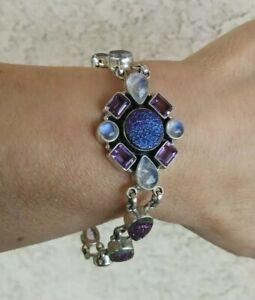 "Nicky Butler Purple/Blue Druzy, Amethyst And Moontone Bracelet Sterling 7 3/4"""