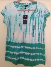 NEW Chaps Cotton/Modal V-Neck Tie-Dye Shirt Sleeve Tee Large NWT