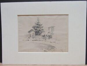 Arthur J. Hammond 1875-1947 House with large Tree Pencil Drawing