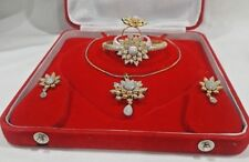 Indian Women Necklace Set Pendant with Chain Zircon Gold Plated Jewelry Combo