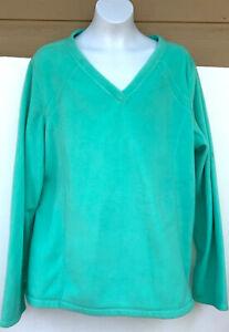 Tek Gear Women's pale green Soft Fleece Pullover Sweatshirt v-neck xL EUC