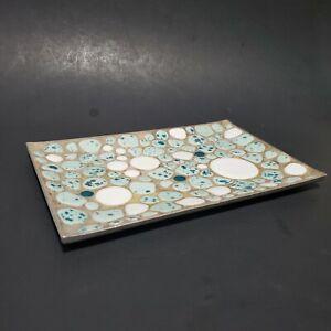 Mid Century Modern Southwest Stone Aluminum Tray Cabochon Mosaic MCM Turquoise