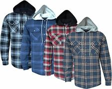 New Mens Padded Hooded Quilted Thick Lumberjack Check Work Shirt Jacket  S - 3XL