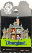 Disney DLR Princesses Ariel Belle Aurora Tink in Disneyland Castle Slider Pin