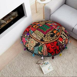 """22"""" Indian Black Patchwork Round Floor Decor Cushion Cover Vintage Pillows Throw"""