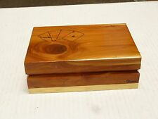 KANSAS Vintage WOOD DBL DECK BOX WITH CARDS ON TOP KANSAS BOTTOM 2 KANSAS DECKS
