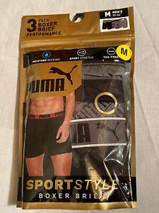 NWT Puma. Sz M. Men's. 3 Pack. Sportstyle Performance Boxer Briefs. MSRP $28.00