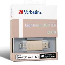 VERBATIM Apple Lightning USB 3.0 Drive, Gold/Rose Gold, 32GB/64GB