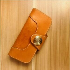 handmade Fatty  Vegetable-tanned leather women long wallet credit card holder