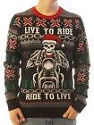Ugly Christmas Sweater Men's Live To Ride Motorcycle Skeleton Sweatshirt