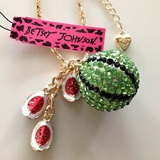 """GREEN CRYSTAL WATERMELON w/ Charms 28"""" Pendant Necklace Betsey Johnson"""