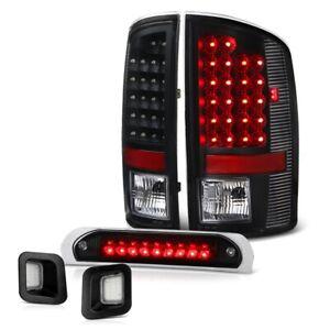 07-09 Dodge Ram 2500 3500 Black LED Tail+3rd Brake Cargo+License Plate Tag Light