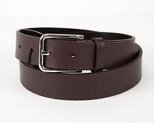 New ERMENEGILDO ZEGNA Bole Brown Leather Silver Buckle Belt 32 US 85 EU $1495