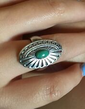 Vintage Native American Signed Oval Turquoise Sterling Silver Ring Size 5.75