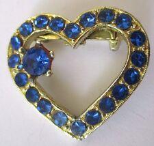 broche bijou vintage coeur couleur or cristaux saphir diamant amoureux 652