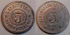 5 pfennig sans année Allemagne / Hohenwestedt 5 PFENNIG FER extrêmement rare