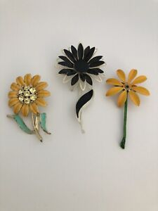 Vintage Enamel Flower Daisy Sunflower Pin Brooch Lot (3) Unsigned Rhinestones