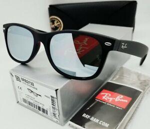 "RAY BAN black/green-silver mirror ""NEW WAYFARER FLASH"" RB2132 622/30 sunglasses"