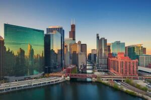 Chicago Illinois Downtown River At Dawn Skyline Photo Inch Poster 24x36 inch