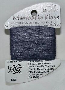 Rainbow Gallery Mandarin Floss bamboo 6 ply strandable 20 yard M858 gray