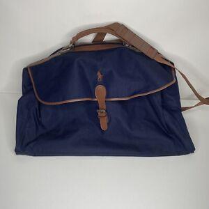 Polo Ralph Lauren Navy Blue Brown Classic Traveler Duffel Bag