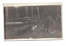 RPPC MAN HUNTER DOG BEAR RIFLE GUN Hunting Hunter Real Photo Postcard vintage